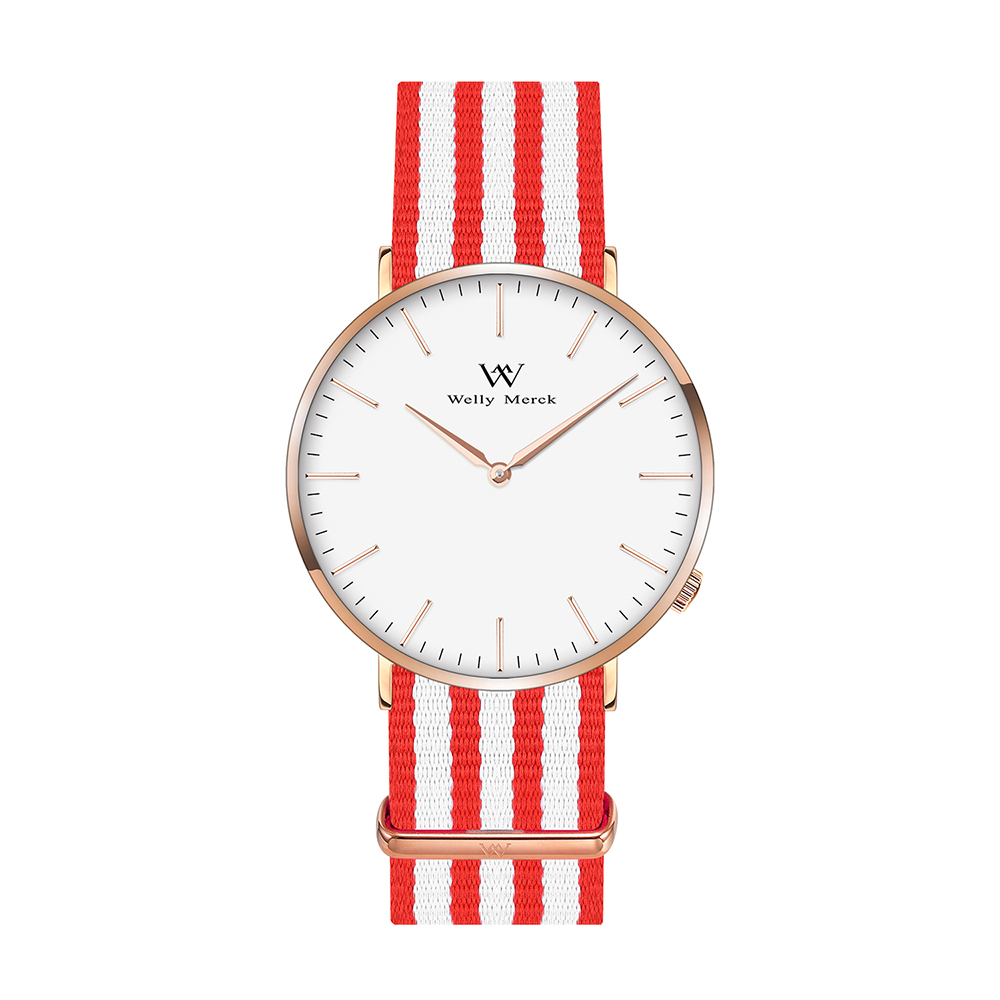 Welly Merck Women Simple Quartz Watch with Nylon Nato 18mm Width Interchangeable Strap
