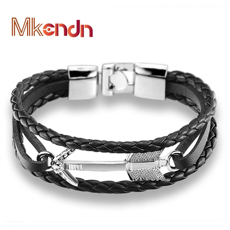 MKENDN New Arrival Feather Arrow bracelet Bangle Genuine Leather Hand Chain Buckle friendship men women anchor bracelet hombre