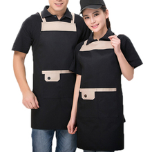 Фотография Halter Apron With 2 Pockets Sleeveless Apron Antifouling Wear Aprons Waiter Restaurant Cooking Cafe Aprons Unisex
