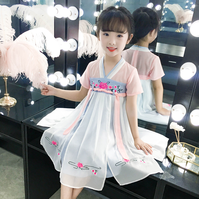OLOEY 2019 Girls Dress Clothes Kids Dresses For Girls Children 39 s Skirt Polyester Chinese Style Tang Suit Hanfu Cheongsam Trend in Dresses from Mother amp Kids