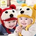 Nova outono e inverno crianças hat cap cabeça manga além de veludo chapéu de inverno Urso de pelúcia chapéu guarda
