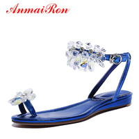 ANMAIRON Womens Flats Strayppy Sandals Summer Shoes Women Crystal Flip Flops Shoes Ladies Sandals Women Rhinestone Shoes Size 39