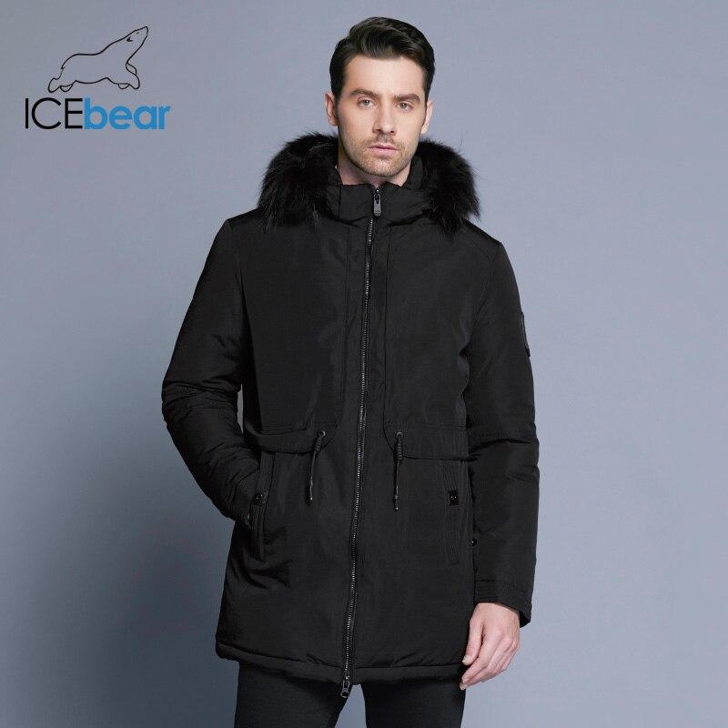 ICEbear 2017 Hiver Veste Hommes Patte Zipper Réglable Ceinture Souple Confortable Col De Fourrure Hiver Coton Vêtements 17MD941D