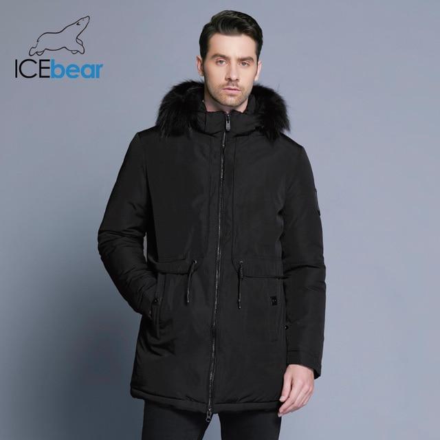 ICEbear 2018 зимняя куртка Для мужчин планка на молнии Регулируемый пояс мягкие удобные меховой воротник зима одежда из хлопка 17MD941D