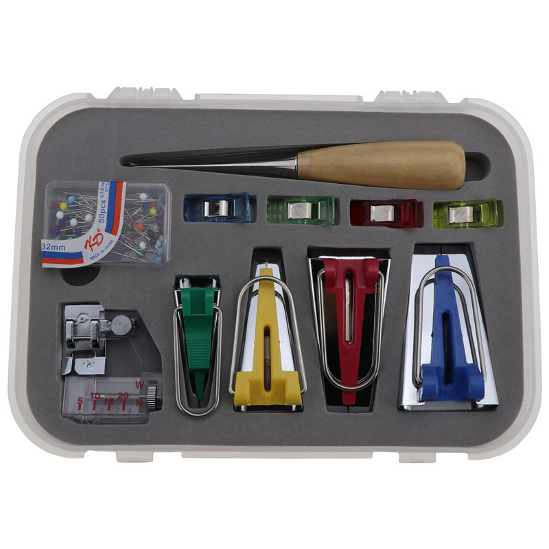 Practical Bias Tape Maker Set for Sewing Bead Needles,Adjustable Binder Clip,Wooden Awl,Foot Press Fabric Bias Tape Makers Kit with Sewing Awl