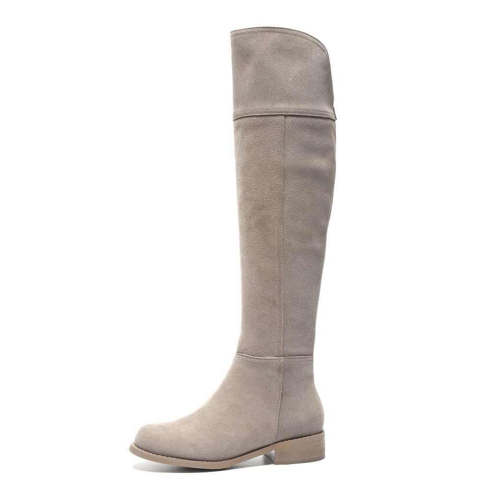 Wysoka moda uliczna solidny zamek błyskawiczny prawdziwej skóry zakolanówki buty okrągłe toe niskie obcasy rzym eleganckie kobiece buty do kolan L51
