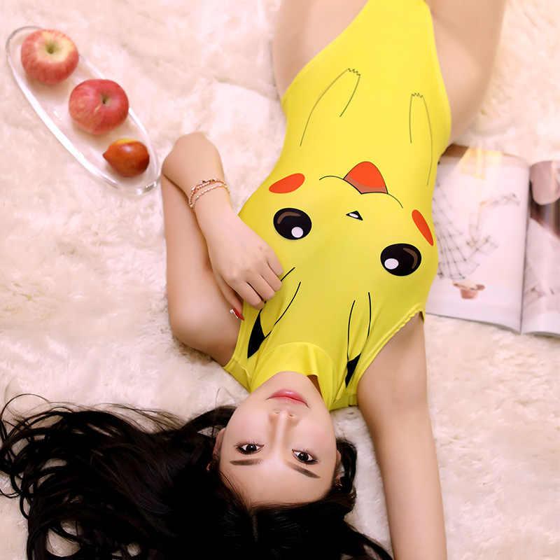 Japanse Anime Cosplay Pokemon Pikachu Sexy Crochless Lingerie Bodysuit Een Stuk Badmode SUKUMIZU Halloween Kostuums voor Vrouwen