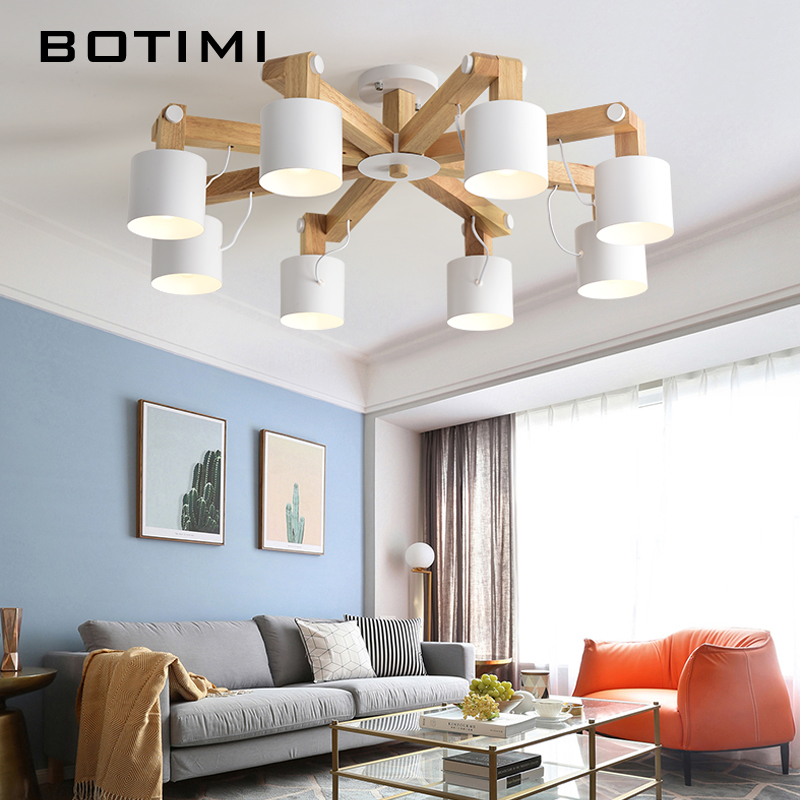 BOTIMI Nordic LED Chandelier Lighting For Living Room Adjustable Chandeliers Modern Wooden Lustres E27 Dining Luminaire