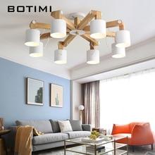 BOTIMI Nordic светодио дный люстры для Гостиная регулируемые люстры современные деревянные люстры E27 обеденный светильник
