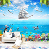 3D Cartoon Picture Underwater Sailing Dolphin Wall Mural-Free Shipping 3D Wall Stickers For Kids Rooms