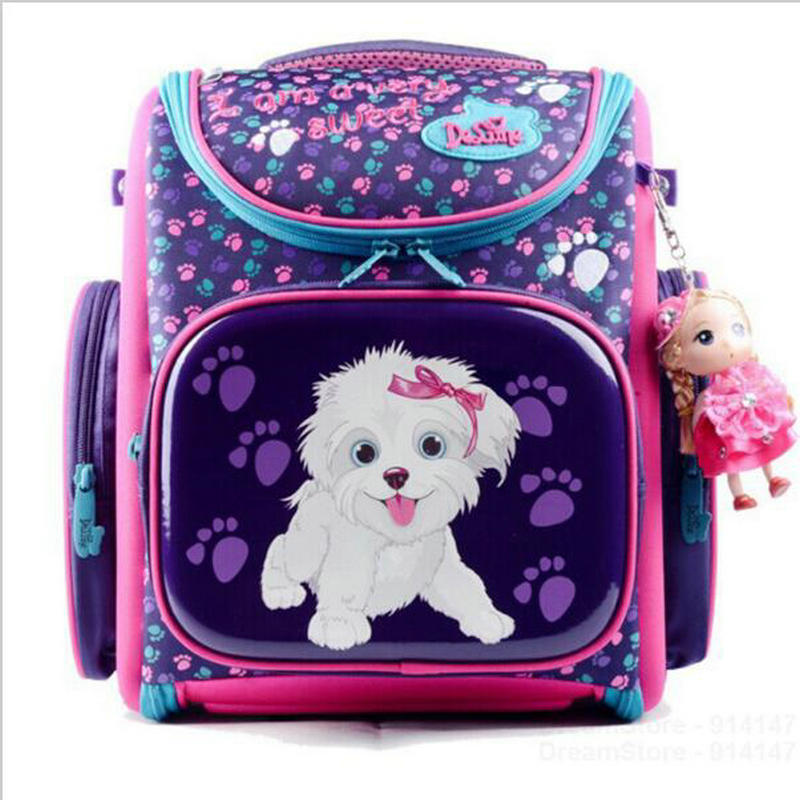 New Fashion DELUNE Children Cartoon Dogs Cute Bear Girls School Bags Waterproof Foldable Orthopedic School Backpacks Kids Bolsas