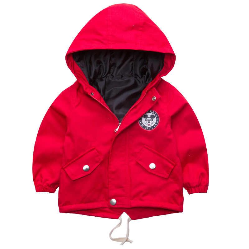 Nuevo otoño chaqueta para viento para niños Mickey abrigo para bebé niños con capucha niños ropa