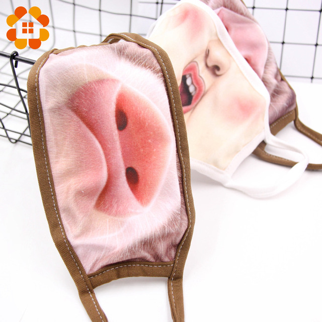 Villain Joke Masks Funny Expression Pig Lower Half Face Cotton Face Mask Festive Christmas Masquerade Party Cosplay Supplies 1