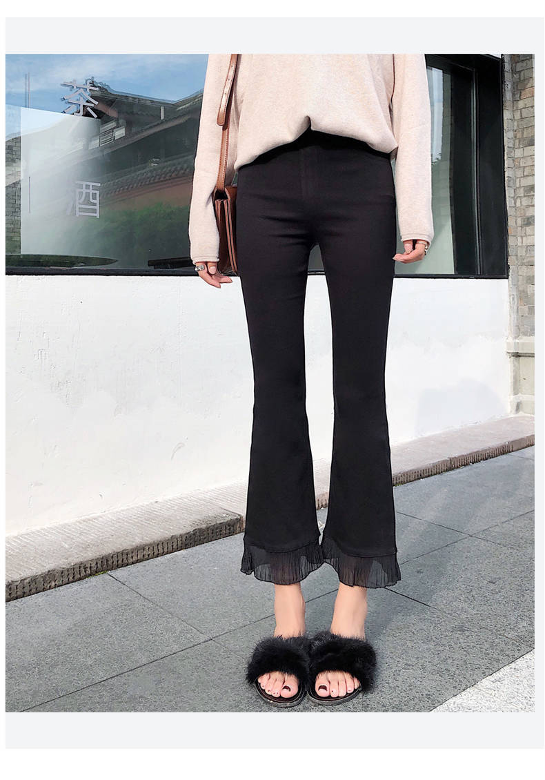 2019 Trousers Women High Waist Bell Bottom Metal Ring Flare Pants Wide Leg Pants Big Plus Size XL Black White Female Capris PP05 39
