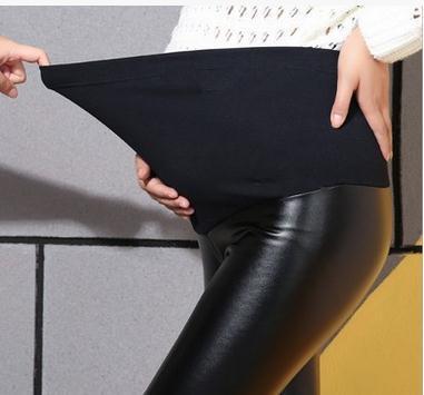 2017 Осенью и зимой плюс бархат беременных Леггинсы ИСКУССТВЕННАЯ кожа эластичный регулируемый живота материнства брюки SH-8809