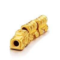 999 Solid 24K Yellow Gold Pendant 3D Train Bracelet 2.65g