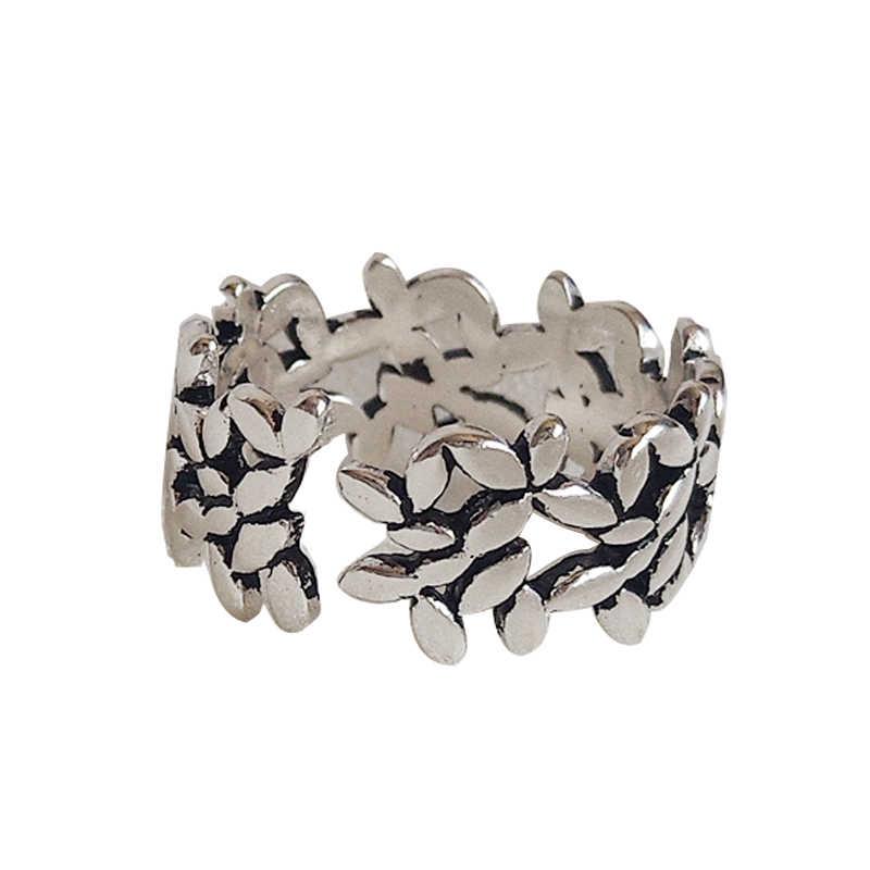 Bohemian Thời Trang 925 Sterling Silver Leaf Antique Nhẫn Đối Với Phụ Nữ Cô Gái Vòng Tay Lớn Đồ Trang Sức Cô Dâu joyas de plata