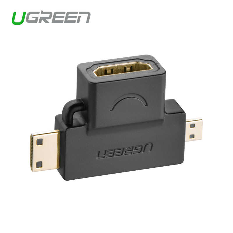 Ugreen, 3 en 1, Mini HDMI macho, Micro HDMI macho a HDMI hembra, Adaptador convertidor para tableta, pc, tv, teléfono móvil, adaptador HDMI