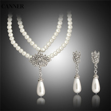 Canner Pearl Bridal Jewelry Sets Crystal Necklaces Earrings Wedding Jewelry Sets For Women недорого