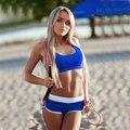 2016 Traje de Verão 3 Cores Mulheres De Fitness mulheres Agasalho Set 2 Peças (Sexy Tops + Shorts) Conjuntos Patchwoek Mulheres fatos de treino