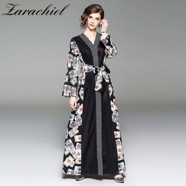 68afa63598a2 2018 Runway Dresses Autumn Women Brand Playing Card Printed Dot Maxi Dress  Ladies Long Sleeve Sashes Loose V Neck Long Dresses