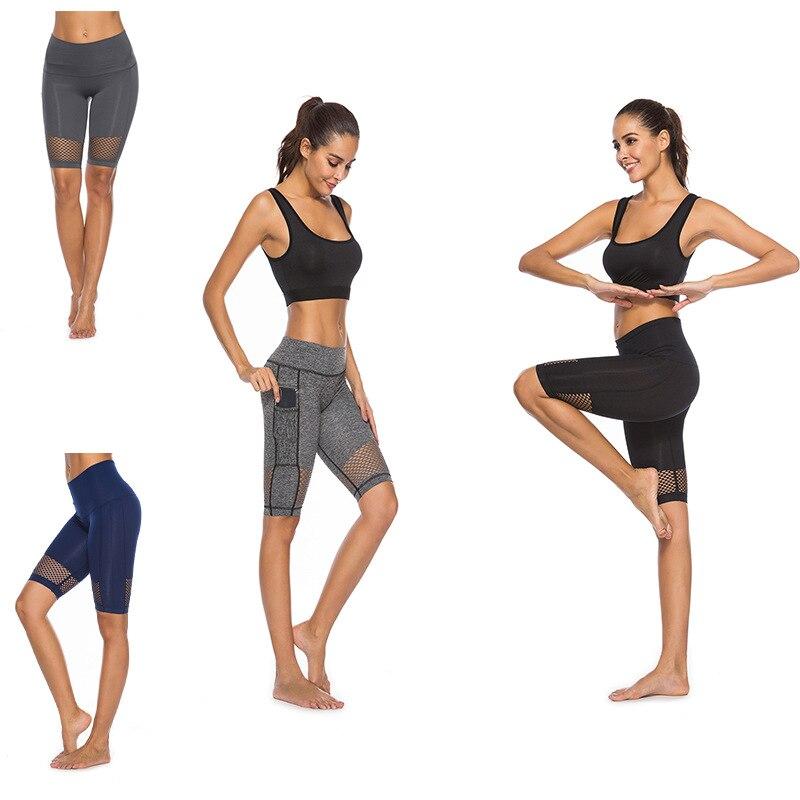Women Yoga Shorts Polyester Spandex Knee Length Mesh Sport