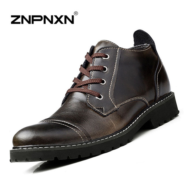 ZNPNXN Winter Men Boots Casual Fur Snow Boots Men Genuine Leather Ankle Boots For Men Winter Shoes 2016 Zapatos Hombre