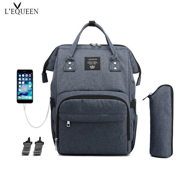 LEQUEEN-sacs à couches USB pour bébé | Sac à dos pour maman, sac à couches de grande capacité, sac de voyage d'affaires étanche, sac de rangement