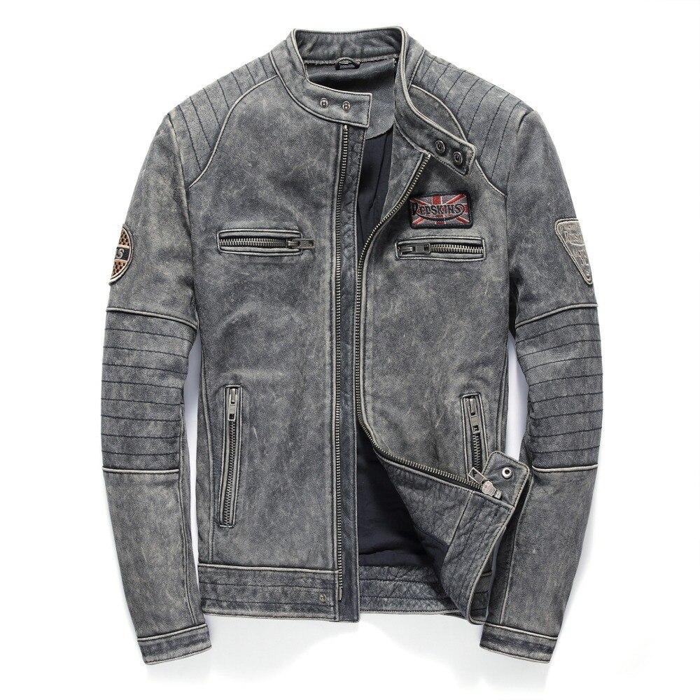 HARLEY DAMSON Vintage สีดำผู้ชาย Biker เสื้อหนังเสื้อแจ็คเก็ต Plus ขนาด XXXL ของแท้หนา Cowhide Slim พอดีรถจักรยานยนต์หนัง-ใน เสื้อโค้ทหนังแท้ จาก เสื้อผ้าผู้ชาย บน   1