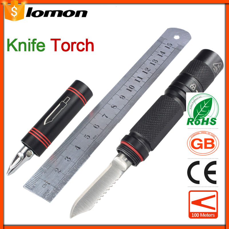 LED Flashlight Knife Multifunction Emergency Light Camping Hunting Hiking Handy Torch Gift Present Swiss Army Knife Survival Hot