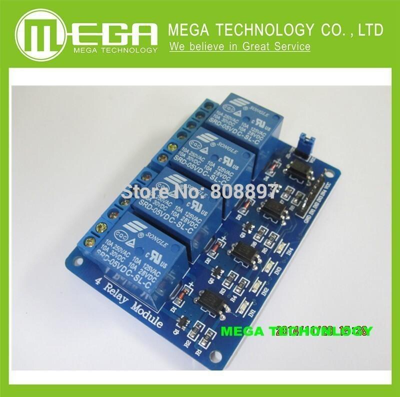 4-channel relay module optocoupler isolation four relay module control panel