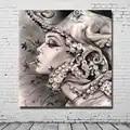 Абстрактные настенные художественные изображения расписанные вручную Масляные картины на холсте для девочек, настенные художественные ка...