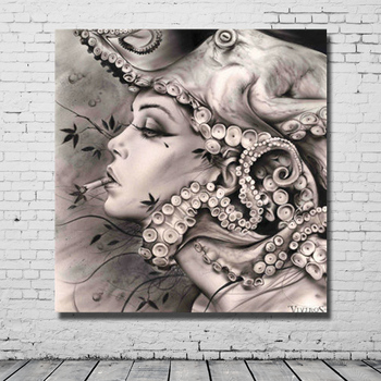 Abstract Wall art image Handpainted Oil Painting on Canvas Smoking girl wall art picture for living room home decor