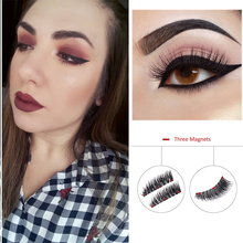 BONNIE CHOICE 2Pcs/1 Pair Magnetic False Eyelashes 3 Magnets Handmade Triple Magnet Natural Long Fake Eye Lash Extension Tool