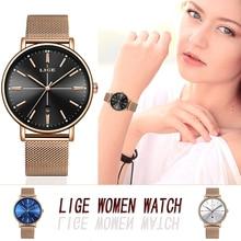 LIGE Rose Gold Black Women Watches Busin