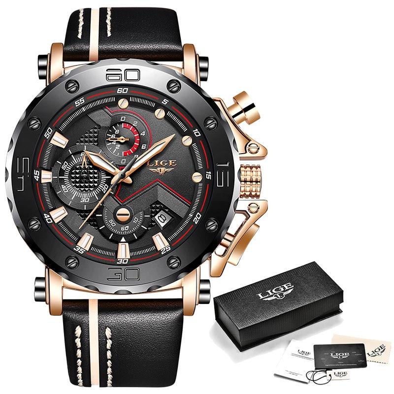 2020LIGE New Fashion Mens Watches Top Brand Luxury Big Dial Military Quartz Watch Leather Waterproof Sport Chronograph Watch Men 7