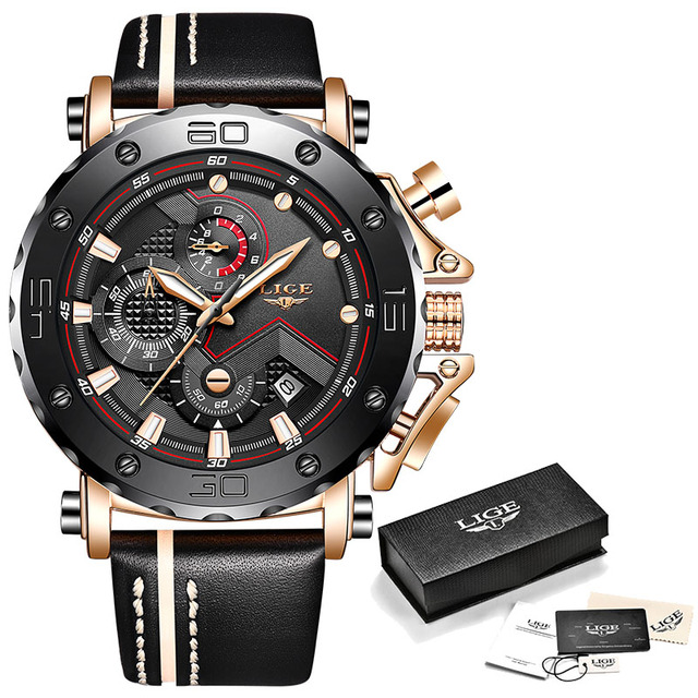 2019LIGE New Fashion Mens Watches Top Brand Luxury Big Dial Military Quartz Watch Leather Waterproof Sport Chronograph Watch Men |