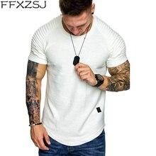 2019 New Fashion Men's Round Neck Slim Solid Color Short Sleeved T-shirt Striped Fold Raglan Sleeve Style T shirt Tops Tees striped trim raglan sleeve jacket