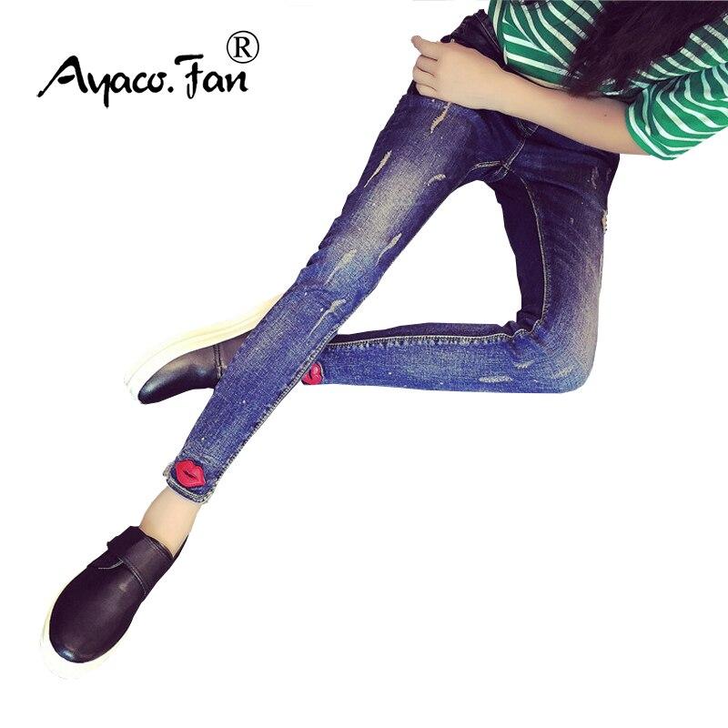 2017 Jeans For Women Skinny Lip Printed Jeans Woman Blue Denim Pencil Pants Stretch Waist Women Jeans Blue Pants Calca Feminina