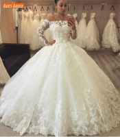 Luxury Lace White Ball Gown Wedding Dresses Long Sleeve Appliques Off Shoulder Ivory Bridal Gowns Pageant Illusion Wedding Dress