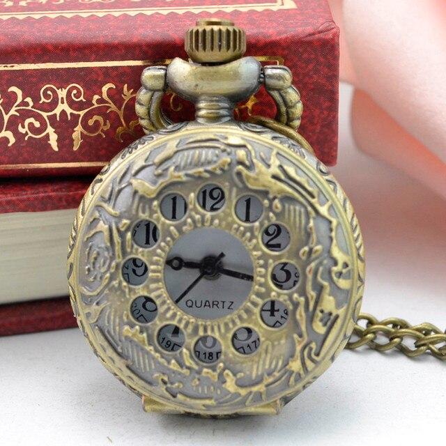 #5004Vintage Steampunk Retro Bronze Design Pocket Watch Quartz Pendant Necklace