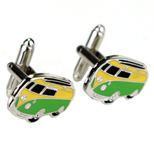 цена на Bus Traffic Car Cufflinks Yellow And Green Enamel Bus Shape Design Jewelry Cufflinks For Men Women Shirts Accessories