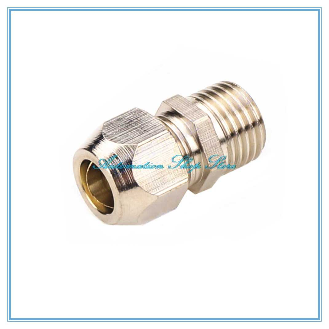 Pipe 10pcs Copper Flaring Directly Connect 1//8 1//4 3//8 1//4 Male Thread Brass Fitting Copper Expansion Estuary Flared Adapter Connector Tubing Color : 10mm Pipe OD, Thread Specification : 12