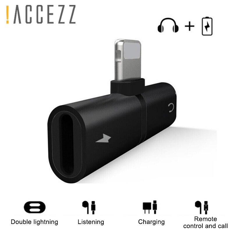 ! ACCEZZ адаптер для телефона, освещение для iphone X 8 7 Plus XS MAX XR 2 в 1, зарядный аудио адаптер для звонков, разветвитель наушников, Aux кабель