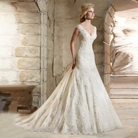 Wedding Dresses 2016 New Elegant Lace Sexy V Neck Mermaid Bride Dresses Marriage Gown