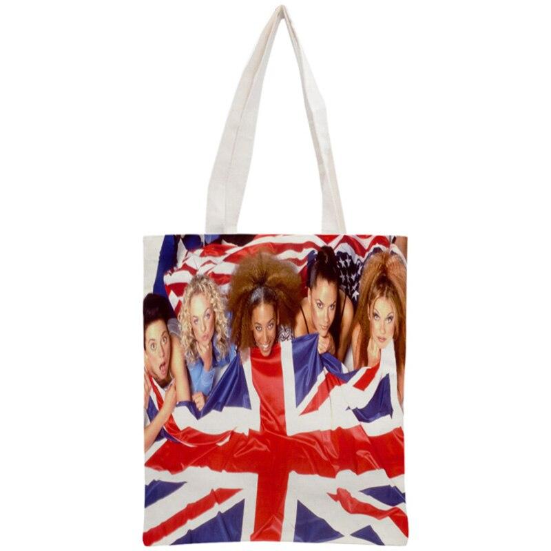 Custom Spice Girls Tote Bag Reusable Handbag Women Shoulder Foldable Cotton Canvas Shopping BagsCustom Spice Girls Tote Bag Reusable Handbag Women Shoulder Foldable Cotton Canvas Shopping Bags