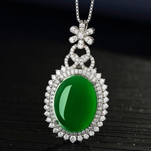 New Fashion 925 Sterling Silver Necklaces For Women Jewelry Luxury Crystal Green Round Pendant Necklace Lady Wedding Accessories