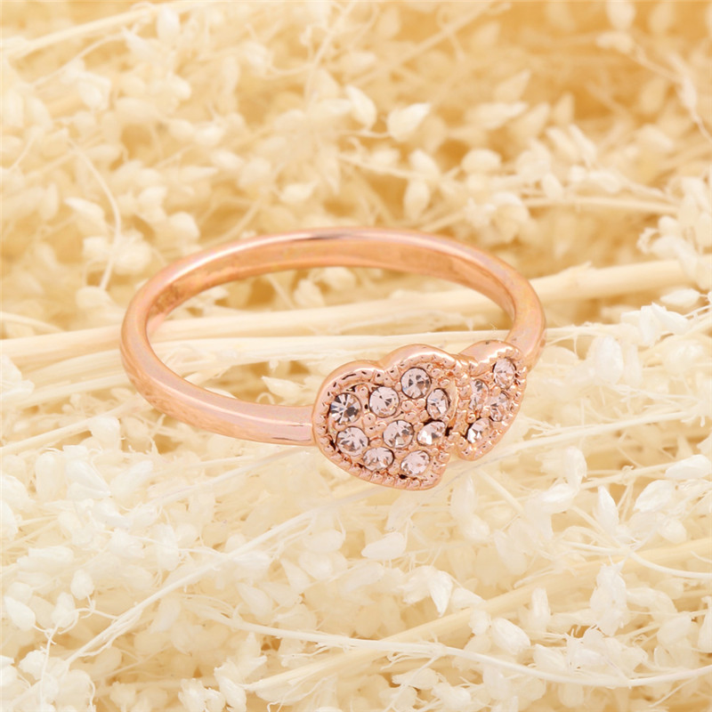 New style simple design double love heart crystal rings women ...