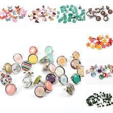 Mixi flor de borboleta formato de folha, com fecho e grampos para scrapbooking, roupas redondas e quadradas
