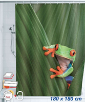 Shower Curtain Cute Frog Design Bathroom Waterproof Mildewproof Polyester Fabric With 72 Inch 12 Hooks